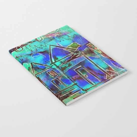 Neon Blue Houses Notebook