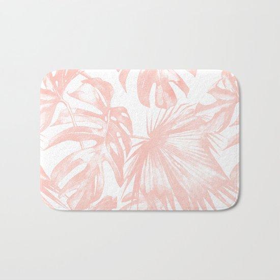 Pink Tropical Palm Leaves Bath Mat