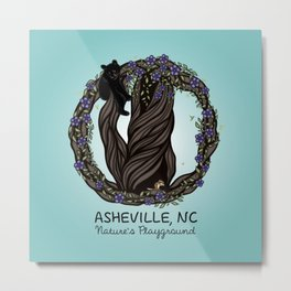 Asheville - Nature's Playground - AVL 5 Colored on Teal Metal Print