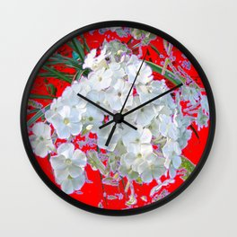 DELICATE RED & WHITE LACE FLORAL Wall Clock