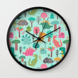Dinosaurs in the woods pastel green pattern Wall Clock