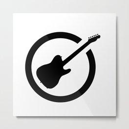 Guitar Black Ink Stamp Metal Print