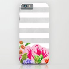 FLORAL GRAY STRIPES Slim Case iPhone 6