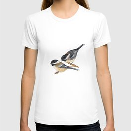 Bird-Chickadees with Lillies T-shirt