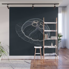 Hand drawn vector illustration of jellyfish Aurelia aurita, also called the common jellyfish, moon jellyfish, moon jelly Wall Mural