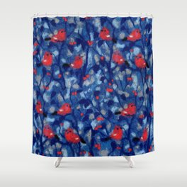 Bullfinches, birds in the trees, fiber art, wool painting Shower Curtain