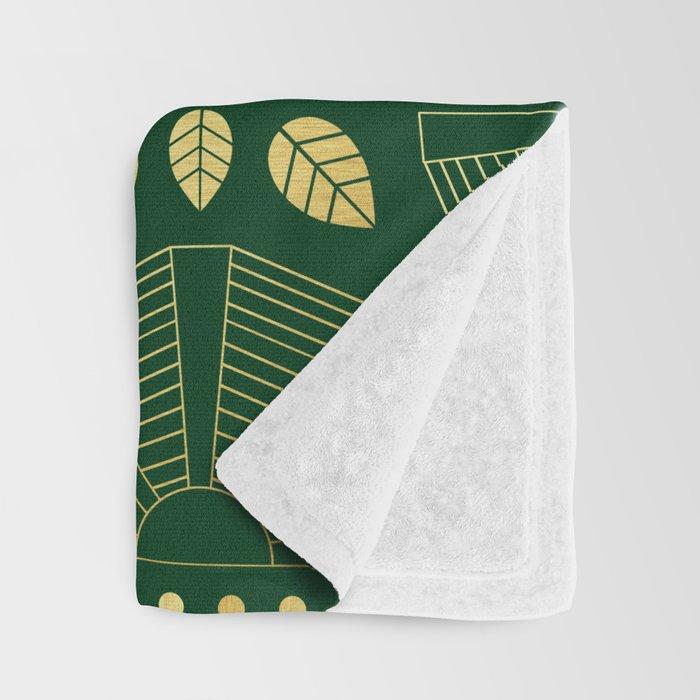 Emerald Art Deco Fan Throw Blanket
