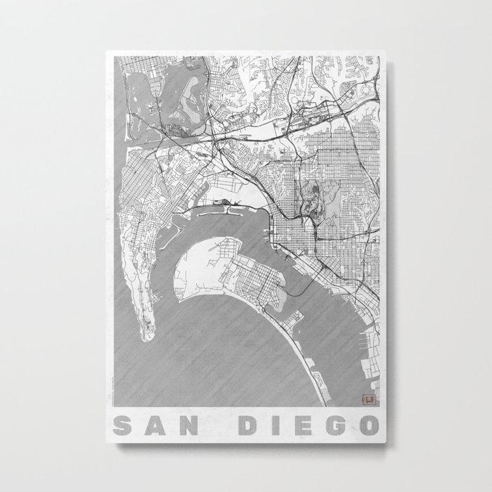 San Diego Map Line Metal Print