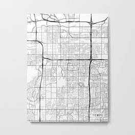 Tempe Map, Arizona USA - Black & White Portrait Metal Print
