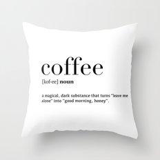 Coffee definition Throw Pillow