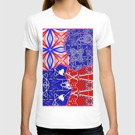 Tile #5 Red-White-Blue Collage T-shirt