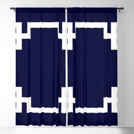 Greek Key Square White On Navy Blue Blackout Curtain