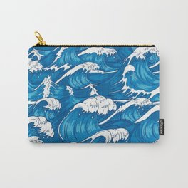 Blue raging waves Carry-All Pouch