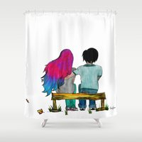 couple Shower Curtains featuring Couple by Robert Junior