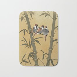 Three Sparrows In Bamboo Tree Bath Mat