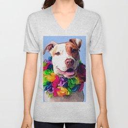 Dog in Flowers Unisex V-Neck
