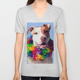 Dog in Flowers Unisex V-Neck