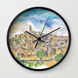 Matera Basilicata Italy Sassi View Wall Clock