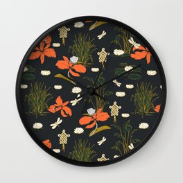 Floral asian illustration pattern Wall Clock