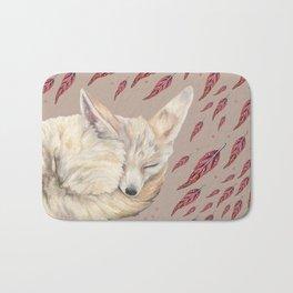 Fennec Fox Feather Dreams in Taupe Bath Mat