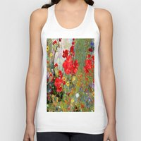 blankets Tank Tops featuring Red Geraniums in Spring Garden Landscape Painting by SharlesArt