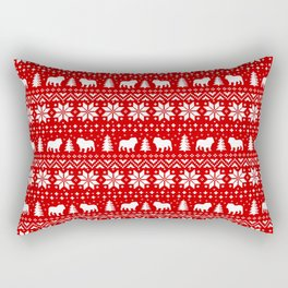 Bulldog Silhouettes Christmas Sweater Pattern Rectangular Pillow