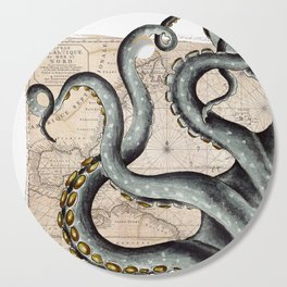 Steel Grey Tentacles Vintage Map Cutting Board