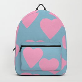 Hearts Pink on Blue Backpack