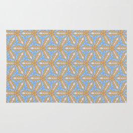 Patterns: Blue Orange Flowers Rug