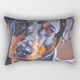 German Pinscher dog art portrait from an original painting by L.A.Shepard Rectangular Pillow