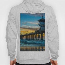 Winter Sunset at Huntington Beach Pier Hoody