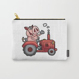 PIG ON A TRACTOR Piggy tractor Farmer Farm Cartoon Carry-All Pouch