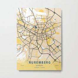 Nuremberg Yellow City Map Metal Print
