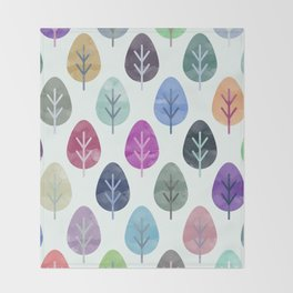 Watercolor Forest Pattern Throw Blanket
