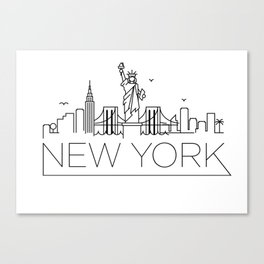 Minimal New York Skyline Design Canvas Print