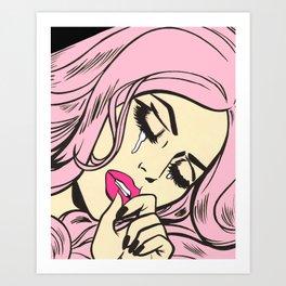 Pastel Pink Sad Girl Art Print