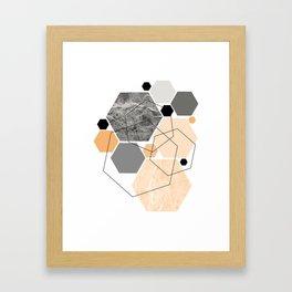 Orange Hexagon, Scandinavian Art Framed Art Print