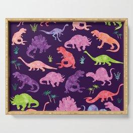 Purple Pink Watercolor Dinosaur Silhouette Pattern Serving Tray