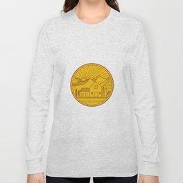 American Farm Barn House Mountain Circle Mono Line Long Sleeve T-shirt
