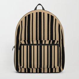 Tan Brown and Black Vertical Var Size Stripes Backpack