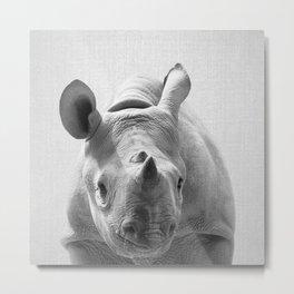 Baby Rhino - Black & White Metal Print