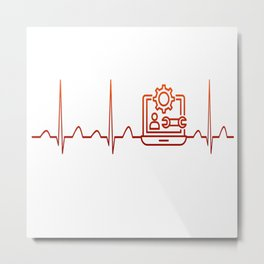 Software Engineer Heartbeat Metal Print
