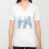penguins V-neck T-shirts featuring Penguins by Natural Wonders
