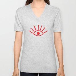 Red Evil Eye Pattern Unisex V-Neck