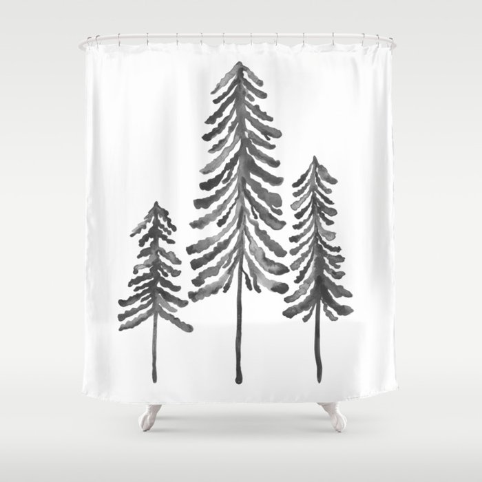 Pine Trees Black Ink Shower Curtain