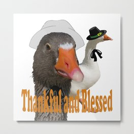 Thankful and Blessed Thanksgiving Pilgrims Metal Print