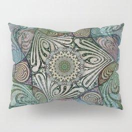 Labyrinth Mandala Blue Green Grey Pillow Sham