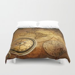 Compass and Map Duvet Cover