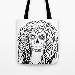 Dia de Los Muertos - black glue resist Tote Bag