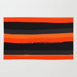 Horizontal Orange and Black Stripes Pattern Minimal Abstract Rug